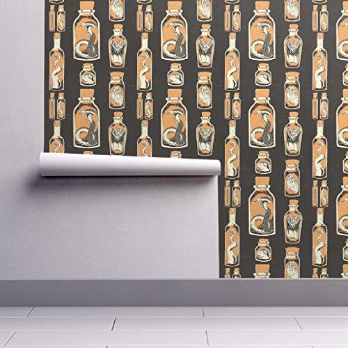 Taxidermy Wallpaper Sample Swatch - Wet Specimen Specimen Jars Spooky Halloween Curiosities by Derek Quinlan - Swatch 12in x -