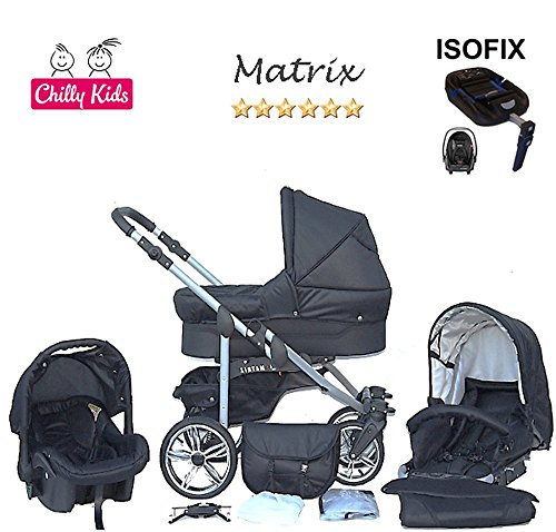 Chilly Kids Matrix II cochecito Safety de verano de Juego (sombrilla, Auto asiento & Base Isofix, protector de lluvia, mosquitera, ruedas giratorias) 23 Schwarz & Schwarz 23 Schwarz & Schwarz