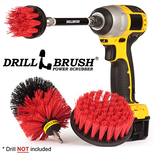 Outdoor - Cleaning Supplies - Drill Brush - Stiff Bristle Power Scrubber Kit with Extension for - Garden - Fire Pit - Patio - Deck - Floor Cleaner - Concrete - Stone - Brick - Spin Brush - Bird Bath ()