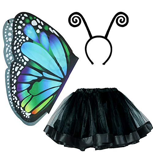 Kids Fairy Butterfly Wings Costume with Antenna Headband and Tutu Skirt for Toddler Girls Dress up Pretend Play Birthday Party Favor (#6 Butterfly Costume Set) Blue Black