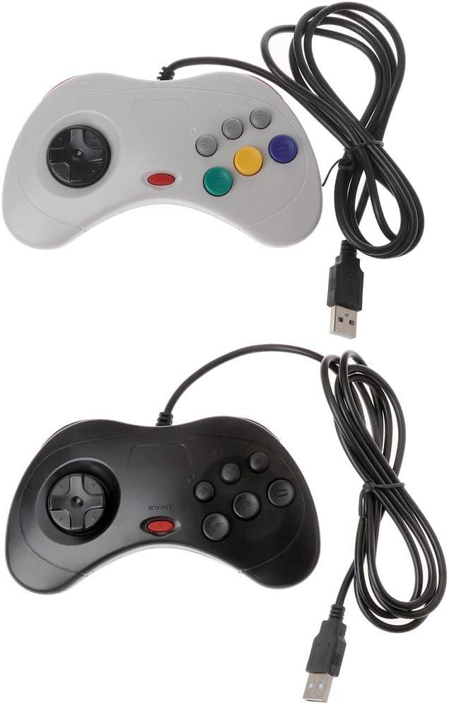 TY-Unless Manette de jeu filaire USB classique pour PC Sega Saturn Noir UN