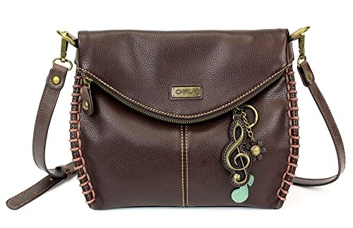Chala Charming Crossbody Bag with Zipper Flap Top and Metal Chain - Dark Brown - Treble Clef ()
