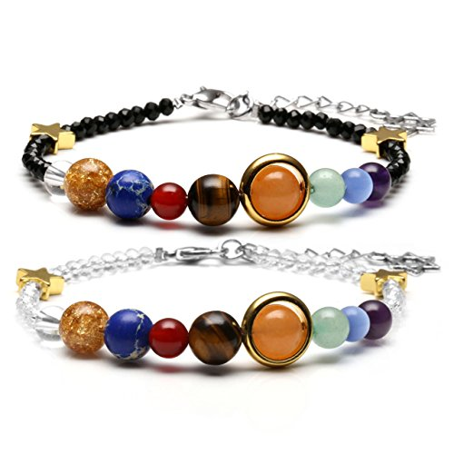 JOVIVI Solar System Bracelet Chakra Healing Crystals Gemstone Universe Galaxy The Nine Planets Star Black White Glass Beads Couples Bracelets (Glass Black White And Bead)