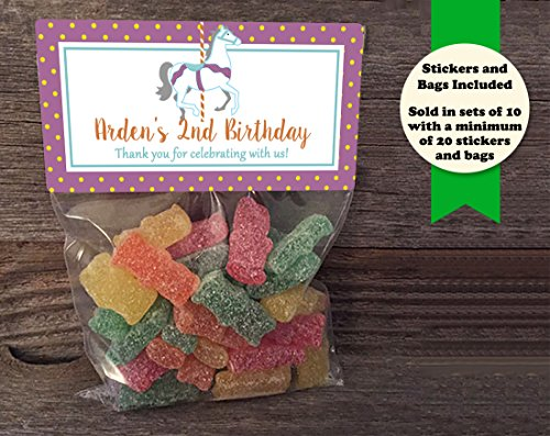 (Carousel Horse Birthday or Baby Shower Personalized Treat Bags and Stickers, Set of 20, Purple and Orange)