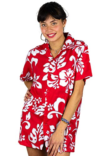 Womens Yellow Hibiscus Print - V.H.O. Funky Hawaiian Blouse, Hibiscus, Red, 3XL