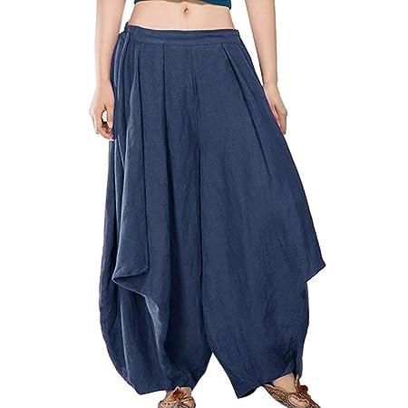 Amazon.com: Women Cotton Linen Pants Drawstring Loose Baggy ...