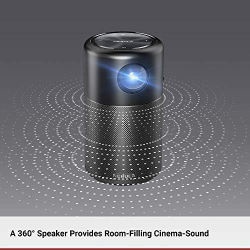 Nebula Capsule Smart Mini Projector, by Anker, Portable 100 ANSI lm High-Contrast Pocket Cinema with Wi-Fi, DLP, 360° Speaker, 100' Picture, Android 7.1, 4-Hour Video Playtime, and App
