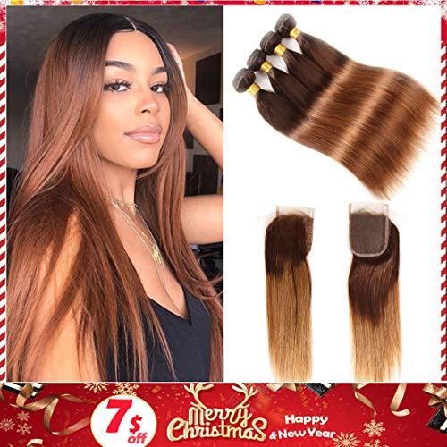 Brown Brazilian Hair Ombre Straight Hair Bundles with Closure, 2 Tone Ombre Brazilian Virgin Human Hair Weave Bundles and Closure, T4/30 Medium - Weave Ombre Human Hair