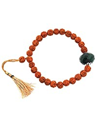 Skyjewels Five Faceted Rudraksha Bracelet with Emerald Bead For Education and Intelligence