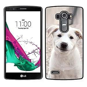 EJOY---Cubierta de la caja de protección para la piel dura ** LG G4 ** --Sonrisa del perrito de Labrador del animal doméstico