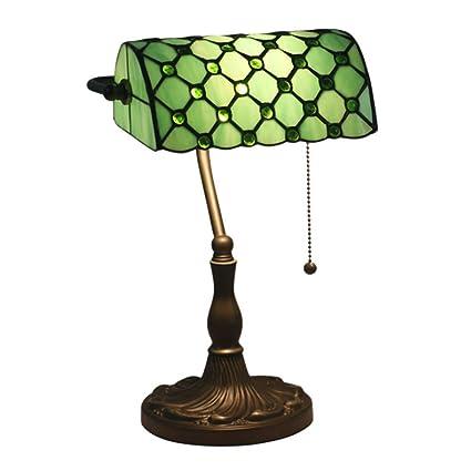 HNYD Lámpara de Mesa Banker Vidrio Estilo Tiffany Lujo ...