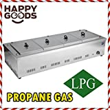 PROFESSIONAL Propane Gas 4 Compartment Commercial Bain-marie Buffet Food Sause Desktop Countertop Warmer Steamer Steam Table 4 POT INCLUDED and 4 LID INCLUDED COMPLETE SET