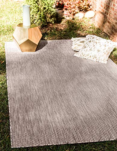 Unique Loom Outdoor Collection Casual Solid Accent Home Décor Beige Area Rug (4' x 6')