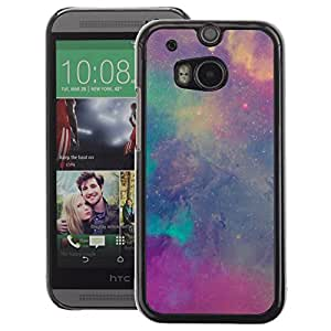 A-type Arte & diseño plástico duro Fundas Cover Cubre Hard Case Cover para HTC One M8 (Stars Nebulae Purple Teal Sky Cosmos)