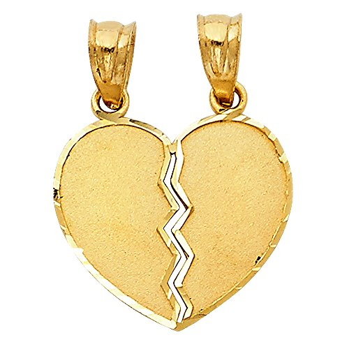 14k Yellow Gold Couple Broken Heart Charm Pendant