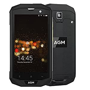 "AGM A8 - Robusto Smartphone IP68 Impermeable Antiagua Anticibios Antipolvo Móvile Libre 5.0"" Quad Core Android 7.0 3GB + 32GB Cámara 13MP y 2MP 4050mAh Batería GPS OTG NFC Negro [AGM OFICIAL]"