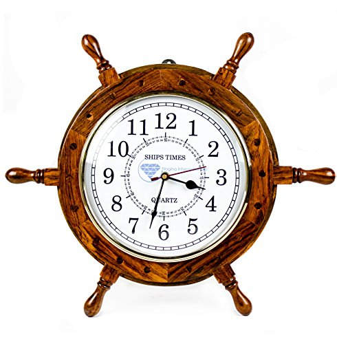 Nagina International Nautical Hand Crafted Wooden Ship Wheel with Quartz Times Wall Clock – Pirate Nursery Home Decor 16 Inches, White Dial Face