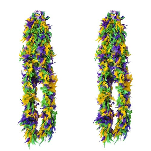"4E's Novelty Deluxe Mardi Gras Feather Boa Costume Accessory, Huge 72"", Mardi Gras Party Decoration, Mardi GrasParty Supplies, Mardi Gras Party Favor, 2 Pack"