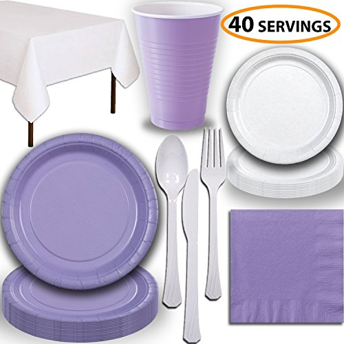 Disposable Party Supplies, Serves 40 - Lavender and White - Large and Small Paper Plates, 12 oz Plastic Cups, Heavyweight Cutlery, Napkins, and Tablecloths. Full Two-Tone Tableware Set