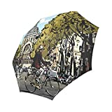 your-fantasia Cyclist n Front of Saint Augustin Church Auto Open Close Folding Waterproof Fabric Travel Umbrella