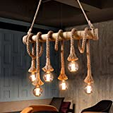 Aiwen Hemp Rope Chandelier Pendant Light Ceiling Lamp(Bulbs not Included) Brown 6 lamp holde