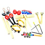 #8: ilovebaby 10 PCS Musical Instruments Set with Maracas, Rhythm Sticks, Nylon Wrist Bell, Wood Sounder, Triangle with Striker, Cymbals, Castanets, Bells, Maracas Eggs and Rattle