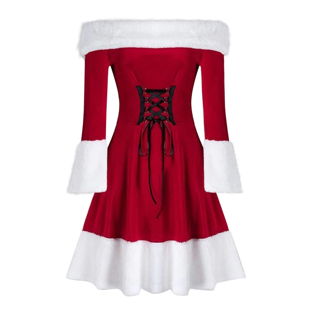 Lataw Womens Christmas Dress Velvet Stylish Long Sleeve Front Bandage Red Festival Off Shoulder A Line Girls Clothes Skirt by Lataw