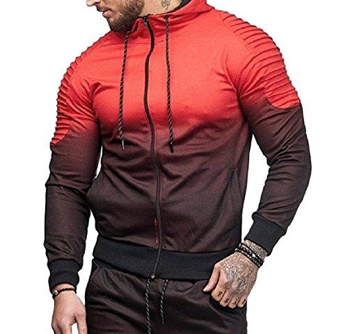(QUHS Men's Long-Sleeve Zip Drawstring Ombre Pockets T-Shirt Sweatshirt Red M)