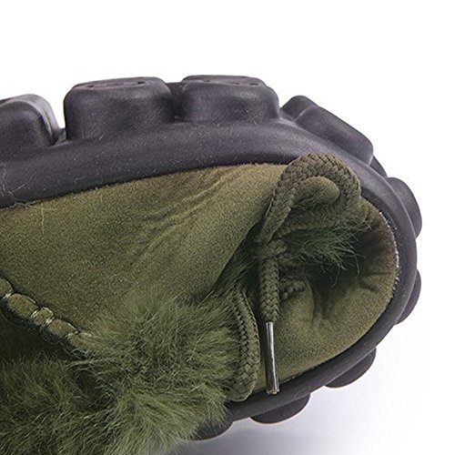 Ying Lan Femmes Mocassins Chaussons Fourrure Doublée Glisser Sur Daim Chaussures Dintérieur En Plein Air Dhiver Avec Anti-dérapant Vert