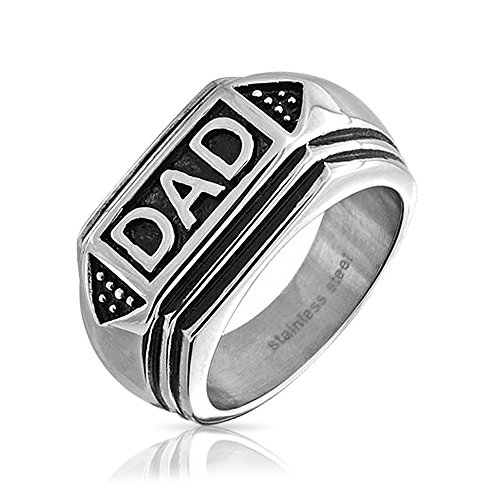 Mens Dad Word Band Signet Rings for Men Oxidized Silver, used for sale  Delivered anywhere in Canada