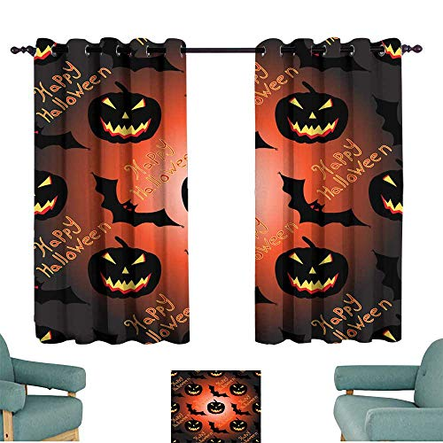 Warm Family Fresh Curtains Halloween Seamless Vector Pattern Background Wallpaper for Living, Dining, Bedroom (Pair)