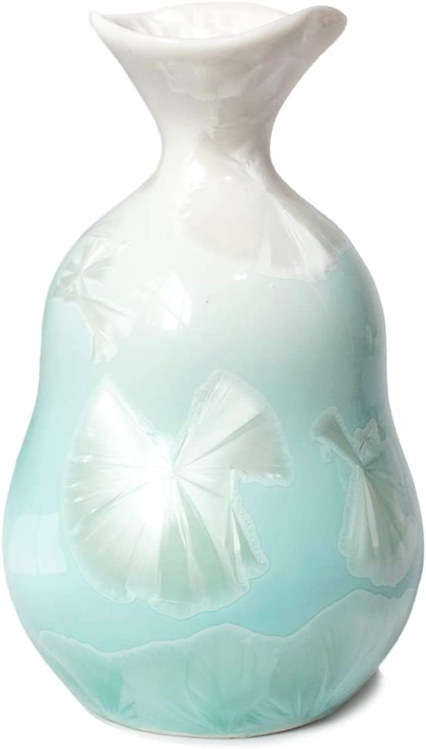 Dahlia Irregular Shaped Ombre Color Mini Porcelain Flower Bud Vase, Green