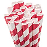 Aardvark Paper Straws Unwrapped Jumbo Straw, 7.75-Inch, Red and White Striped, 50/Pkg
