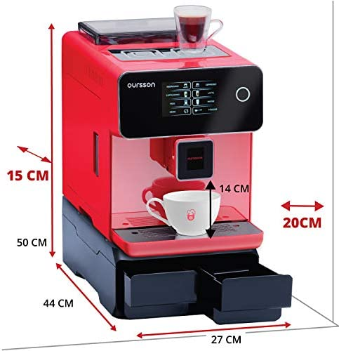 Oursson AM6250/RD Máquina de café Super Automática Molinillo Cerámico Pantalla Táctil, Expresso, Cappuccino, Latte, 19 bar, Rojo POUR BUREAU rojo: Amazon.es: Hogar