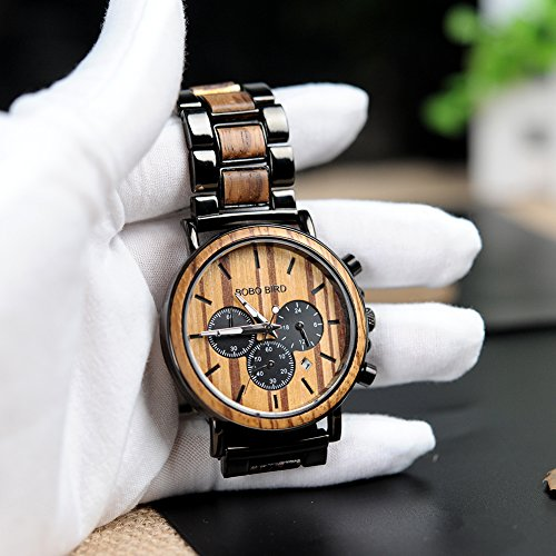 BOBO BIRD Wooden Mens Watches Large Size Stylish Wood & Stainless Steel Combined Chronograph Military Quartz Watch (Balck Wood Band)