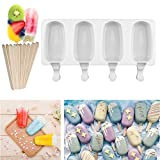 Silicone Ice Cream Mould Pop Ice Lolly Mold Maker Frozen Dessert Popsicle Tray Home Kitchen Tools Pan + 10pcs Wooden Sticks (Small)