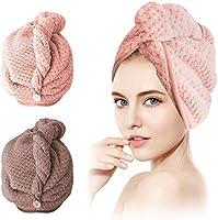 SCOBUTY Haarturban,Handtuch Haare,Turban Handtuch,2 Stück Handtuch für die Haare Schnelltrocknend, Haartrockentuchmit...