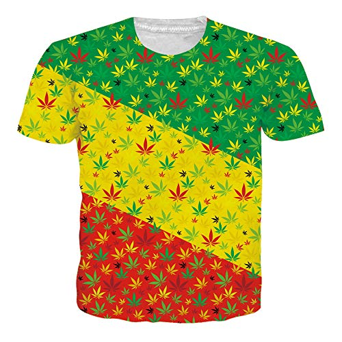 RAISEVERN Mens Womens T Shirt Lightweight 3D Colorful Weed Short Sleeve Crew Neck Cannabis Leaves Tee Top Funny Shirts