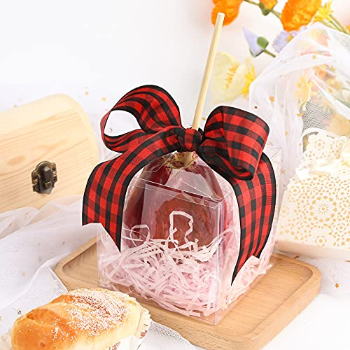 VGOODALL 25 PCS Clear Candy Apple Box With Hole Top, 4 x 4 x 4 inch PET Clear Favor Boxes for Caramel Apples Treat Chocolates, Transparent Cube Plastic Gift Box for Ornaments Christmas Wedding, Party, Baby Shower