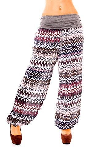 Easy Young Fashion - Pantalón - tiro caído - para mujer Zickzack grau