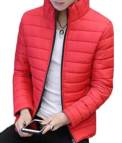 M&S&W Men's Light Warm Stand Collar Puffer Down Coats Red