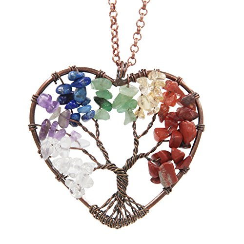 FANSING Jewelry The Tree of Life Heart Pendant Amethyst Crystal Gemstone Chakra Necklace for Women