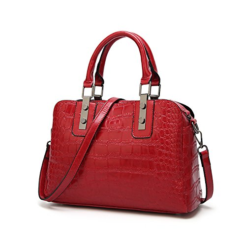 Motif Main À Marron Femme Coolives Crocodile Mallette Vin Sac Rouge SgwxOI