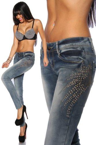 Trendige Jeans mit Nietenapplikation (34)