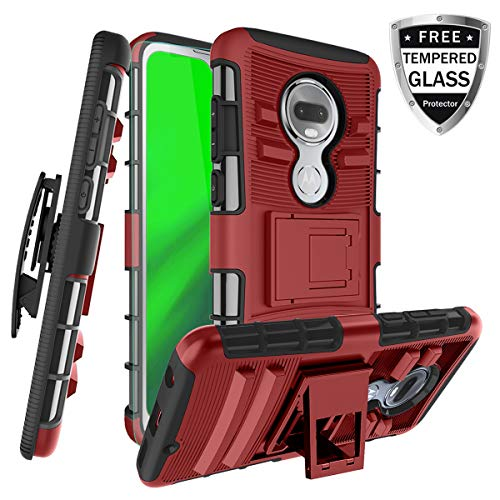 Moto G7 Case W/ [Tempered Glass Screen Protector] Built-in Kickstand Swivel Combo Holster Belt Clip Heayy Duty Shockproof Hard PC Back& Soft TPU Inner Armor, PC-Red