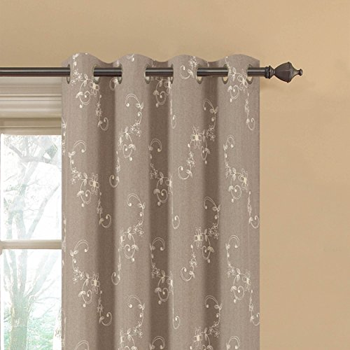 Ideas For Door Curtains (Window Elements  Ashley Embroidered Faux Linen Extra Wide 108 x 84 in. Grommet Curtain Panel Pair,)
