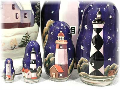 Lighthouses in the Night Russian Nesting Doll 7pc./8'' by Golden Cockerel (Image #5)