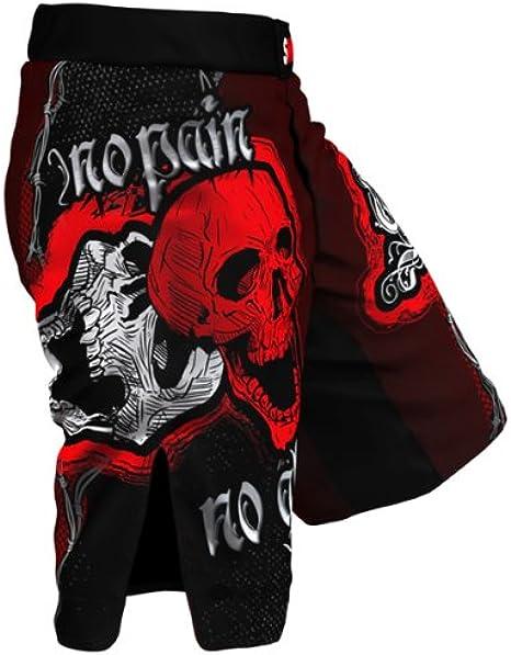 SMMASH tallas S-XXL Pantal/ón corto para deportes de lucha color rojo y blanco dise/ño de calavera