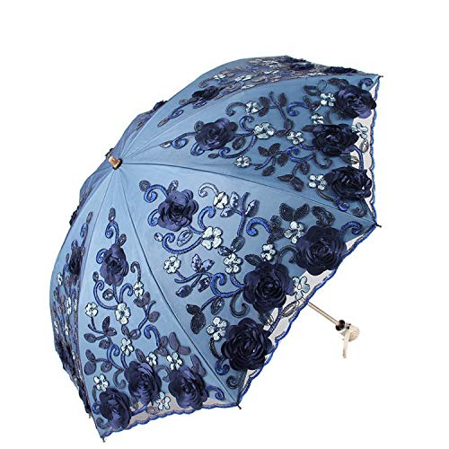 2019 Exquisite Umbrellas Lace Embroidery UV Beach Umbrella Folded Adult Flower Rose Sun umbrella Rain Women Noble Parasol,as picture