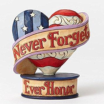 - Jim Shore Heartwood Creek Mini Remembrance Flag Heart Stone Resin Figurine, 3.5